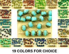 20pcs Picasso Czech Glass Cathedral Faceted Fire Polished Beads Christmas 6mm