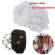 Spiders Halloween Party Decoration Scary Black Spiders with stretchy white Web
