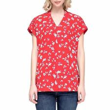 Pleione Womens Blouse Top Red Flowers Cap Short Sleeve V-Neck