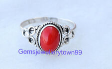 Red Coral Ring 925 Solid Sterling Silver Girl Women Stone Ring All Size R6CO