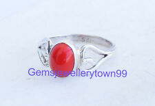 Red Coral Ring 925 Solid Sterling Silver Girl Women Stone Ring All Size R18CO