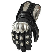 Icon Timax Long Titanium Knuckle Leather Motorcycle Gloves