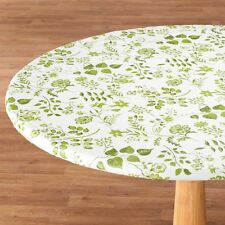 FITTED Floral Flowers Vinyl Round Oval/Oblong Table Cover Cloth Flannel Backed ~