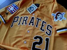 Pittsburgh Pirates yellow #21 ROBERTO CLEMENTE 2patch SEWN Majestic Jersey men's
