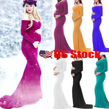 US Women Long Maxi Dress Pregnant Maternity Photography Props Off Shoulder Dress