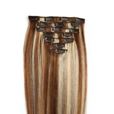 70g 14inch Straight Real Clip In Remy Human Hair Extensions Thick 7pcs #6-613