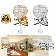 Modern chrome Silver/Gold Crystal LED Wall Light Sconce Fitting Bedside Lamps FC