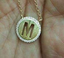"""Initial Pendant Necklace, Diamond Halo Necklace,18""""Chain 14K White/Yellow Gold"""