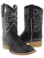 Womens Black Mid Calf Leather Pull On Cowboy Boots Riding Rodeo Square