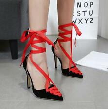 New Womens Pointy Toe Lace Up Strappy Stilettos High Heels Sandals Shoes Party