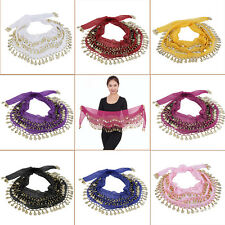 3 Rows 128 Gold Coins Belly Dance Costume Hip Scarf Skirt Belt Wrap Waist GT