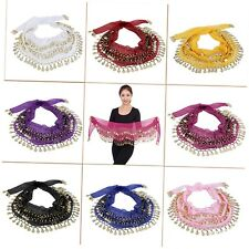 3 Rows 128 Gold Coins Belly Dance Costume Hip Scarf Skirt Belt Wrap Waist WY