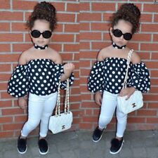2PCS Toddler Kids Baby Girls T-shirt Tops+Casual Jeans Pants Clothes Outfits Set