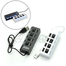 4 Port USB 2.0 High Speed Hub ON/OFF Indicator Led Sharing Switch For Laptop PC