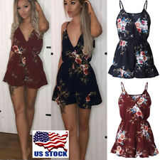 US Women Spaghetti Wrap Top Shorts Playsuits V Neck Floral Beach Jumpsuit Romper