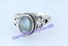 925 Sterling Silver Gray Blue Labradorite Ring Gemstone Ring All Size R6LB