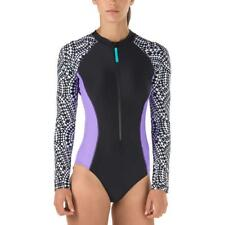 Speedo Womens Swimsuit One-Piece Black Purple UV 50+ Sporty High Neck Zip Front