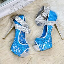 High Heel Ladies Fashion Platform Studded Lace Ankle Buckle Strap Stiletto Shoes