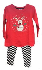 Girls Snowman Red & Black Chevron Legging Christmas Holiday Outfit NWT 2T-5