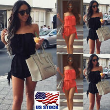 US Women Casual Playsuit Party Evening Summer Beach Romper Dress Jumpsuit Shorts