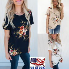 Summer Women Ladies Casual Tops Blouse Short Sleeve Crew Neck Floral T-Shirt US