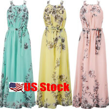 Women Chiffon Sleeveless Summer Boho Long Maxi Dress Cocktail Gown Party Dresses