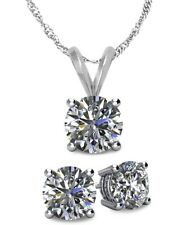 14K WG Genuine 1.65tcw.  White Topaz Solitaire Pendant and Earrings Set