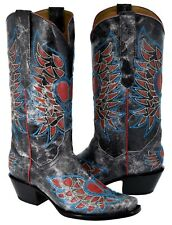 """Womens Distressed Black Heart Wings Overlay Design Leather Cowboy Boots Dubai"""