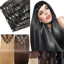 Natural Ends 7/8 pieces Clip In Remy Human Hair Extensions Full Head Black 8c9s