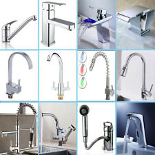 Kitchen & Bath Pull Out Tap Spray Spout Swivel LED Faucet Chrome Brass Glass New