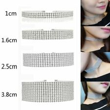 Stretch Crystal Elegant Party Wedding Necklace Choker Multi Row Rhinestone
