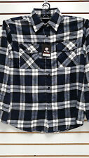 Mens Yago Longsleeve Button Down Plaid Flannel Collar Shirt in Navy & White