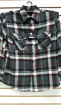 Mens Yago Longsleeve Button Down Plaid Flannel Collar Shirt in Gray & Red