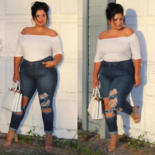 Women Plus Size Denim Skinny Jeans Pants Ripped Stretch Slim High Waist Trousers