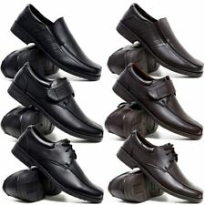 MENS FAUX LEATHER SHOES NEW SMART FORMAL CASUAL OFFICE PARTY BLACK SHOES SIZE