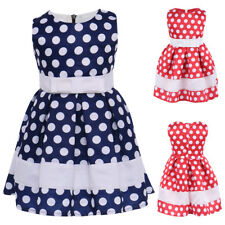 Baby Kid Girls Polka Dots Wedding Pageant Birthday Party Dress Retro Ball Gown