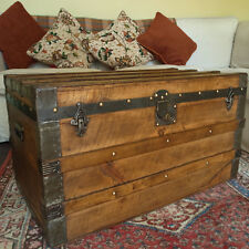 ANTIQUE PINE TRUNK Coffee Table RUSTIC CHEST Steamer TRUNK Old CHEST Wooden BOX