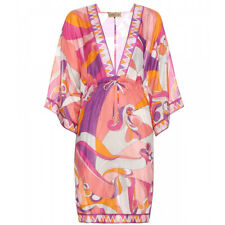 **EMILIO PUCCI SILK & COTTON TUNIC PINK SIGNATURE PRINT DRESS SZ UK12  IT 44