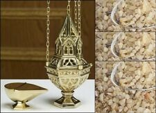 BRASS HANGING SANCTUARY INCENSE CENSER CATHOLIC CHURCH and ADORATION INCENSE