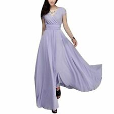 Women Solid Color Large Size Short Sleeve V-neck Tunic Maxi Party Long Dress