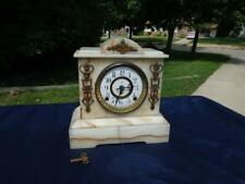Kroeber Onyx Cabinet Porcelain Dial & Ormolu Shelf Mantle Clock Original