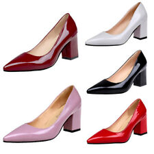 Ladies Pointed-Toe High Block Heels Classics Pumps Womens Court Shoes Plus Size