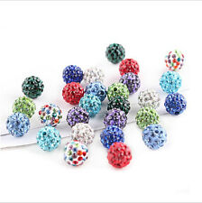 20Pcs Wholesale Czech Crystal Pave Clay Round Disco Ball Spacer Loose Beads 10MM