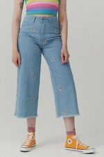 Lazy oaf women's jeans daisy embroidery wide size 24