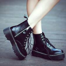 Womens Platform Creeper Goth Punk Chunky Ankle Boots Military Biker Flat Shoes