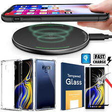 Qi Wireless Charger Charging Pad + Soft Clear Case For Samsung Galaxy Note 9 S9