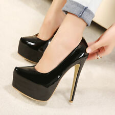Women Ladies Platform High Heel Court Shoes Smart Formal Occasion Party Size New
