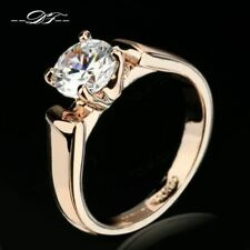 1.25 Carat Round Cut Cubic Zircon Engagement Rings Silver/Rose Gold Color Weddin