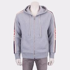 GUCCI 1350$ Authentic New Gray Cotton Hooded Zip-Up Sweatshirt With Logo Stripe