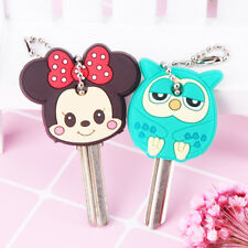 Cartoon Anime Cute Key Cover Cap Silicone Mickey Stitch Bear Keychain Women